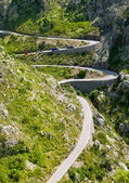 Sacalobra 在马略卡岛附近的山中蜿蜒的路 — 图库照片