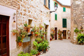 Majorca Valldemossa typical with flower pots in facade — Photo