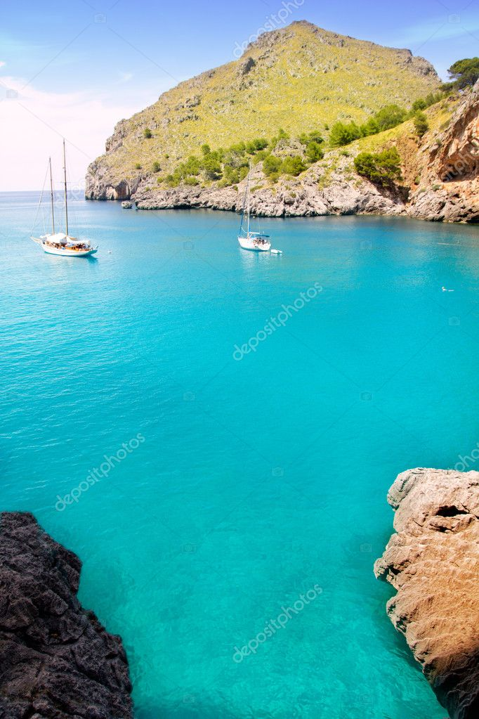 Escorca Sa Calobra beach in Mallorca balearic islands Torrent de Parlos — Stock Photo #6835729