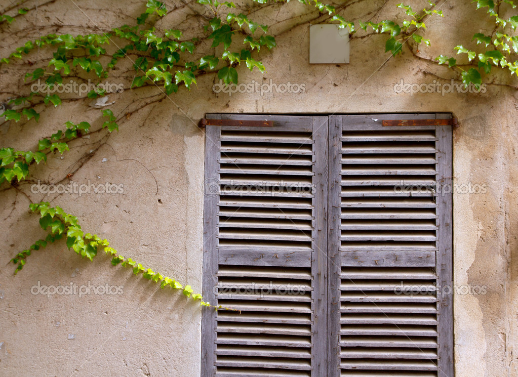 Majorca traditional wood windows mallorquina shutters from Spain — Stock Photo #6836695