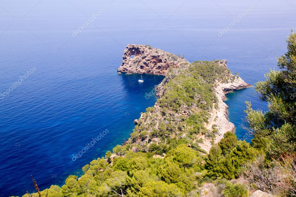 Deia Sa Foradada in mediterranean Majorca view from Can Marroig — Stock Photo #6837400