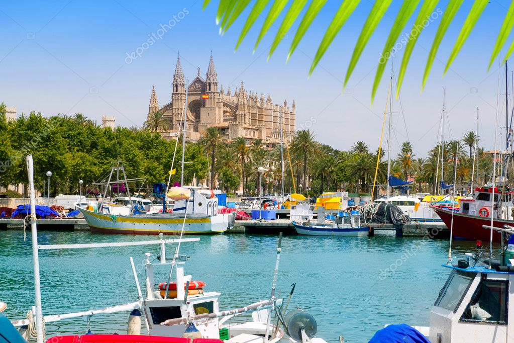 Majorca la Seu cathedral view from marina port of Palma de Mallorca Spain  Stock Photo #6837414