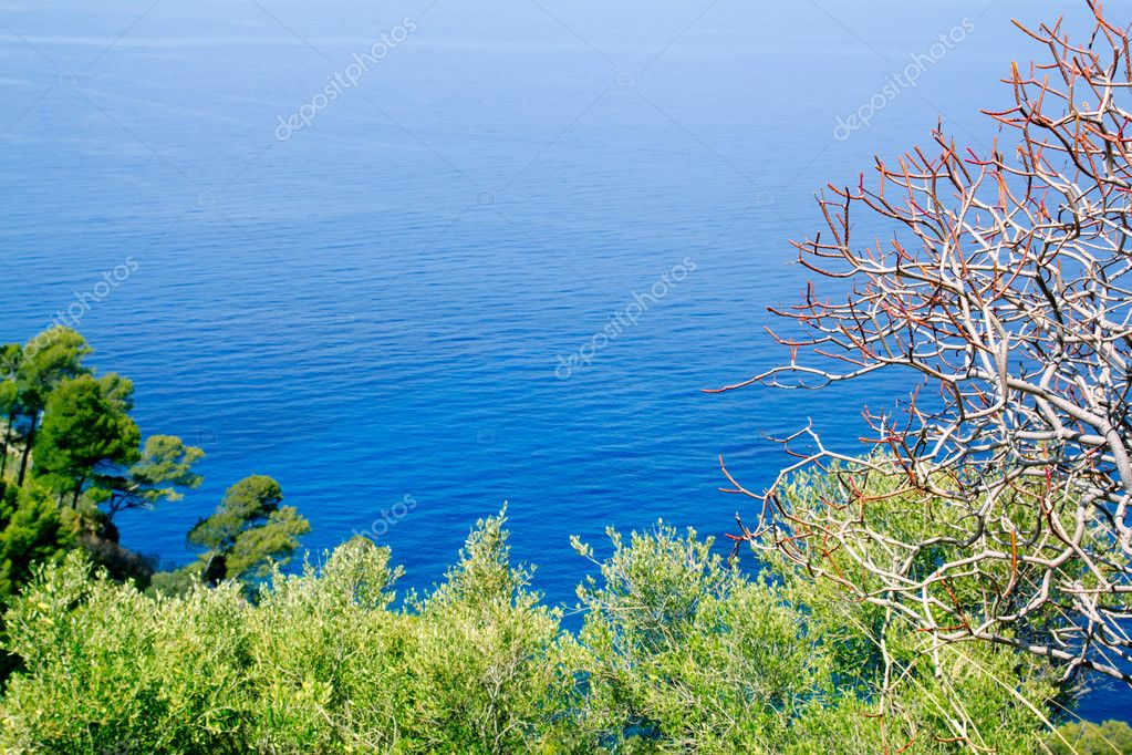 Mediterranean sea high view from Mallorca Deia Son Marroig — Stock Photo #6837475