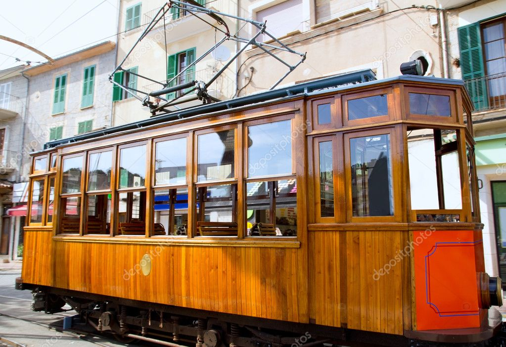 Classic wood tram train of Puerto de Soller in Mallorca island from Spain — Stock Photo #6837500