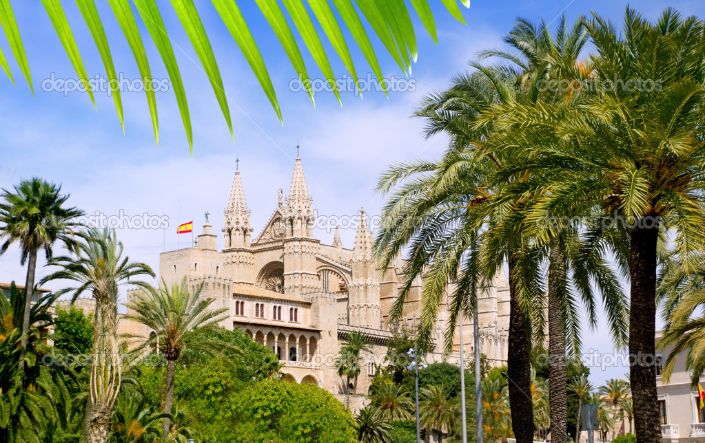Almudaina and Cathedral of Palma de Mallorca in Majorca Balearic island — Stock Photo #6838100