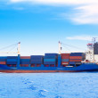 Cargo ship with containers in dep blue sea — Stock Photo #6945604
