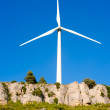 aerogenerator windmill in rocky mountain — Stock Photo
