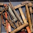 Stock Photo: Aged weathered rusty hand tools in black