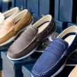 Classic man shoes colorful in a row - Lizenzfreies Foto