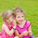 Children girl sister friends whispering ear — Stock Photo #6947365