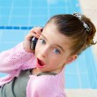 Little girl talking mobile phone with surprise — Stock Photo #6947767