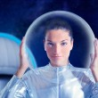 Astronaut beautiful future woman in observatory — Stock Photo