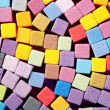 Colorful square foam cubes texture — Stock Photo