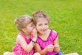 Children girl sister friends whispering ear — Stock Photo