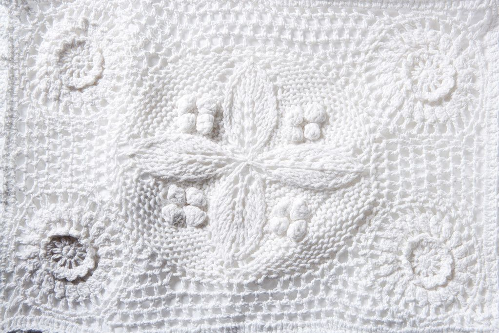 Cotton tricot pique white fabric macro texture background — Stock Photo #6948894