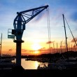 Dock crane port sunset in Salou Tarragona — Stockfoto
