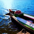 Albufera blue boats lake in El Saler Valencia — Stock Photo