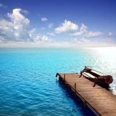 Lago azul barcos de albufera em el saler valencia — Foto Stock