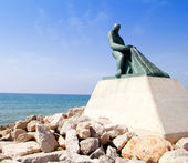 Fisherman statue in Salou Beach at Catalonia — Stock Photo