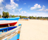 Beach of Salou with beached boats — Stock Photo