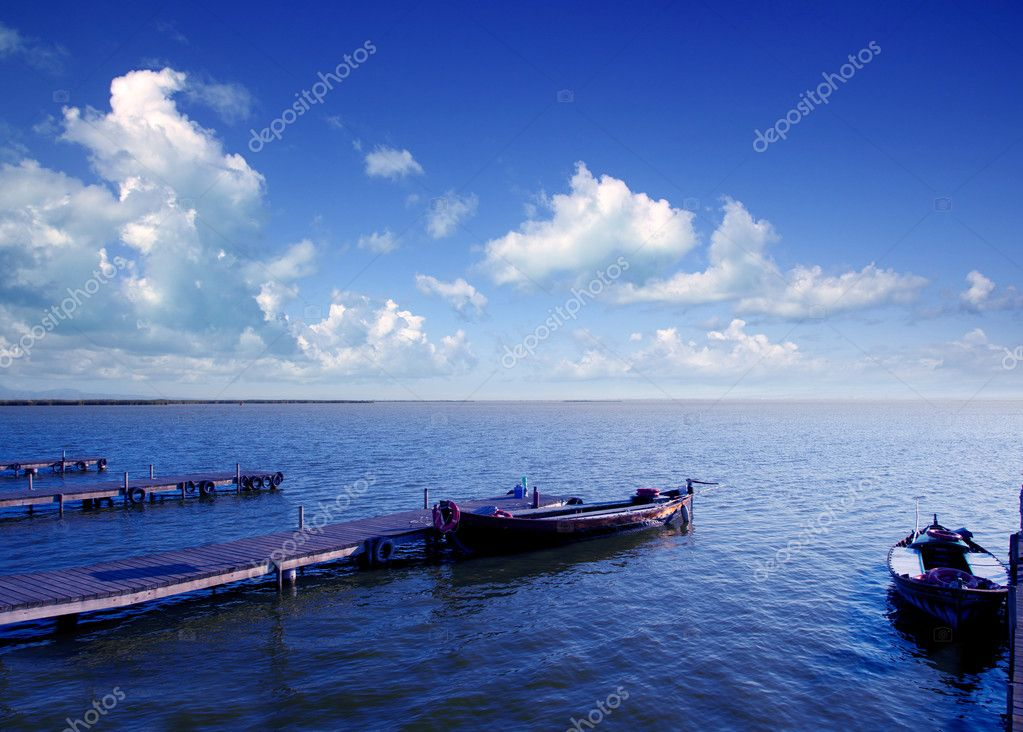 Albufera blue boats lake in El Saler Valencia Spain  Stock Photo #6953050
