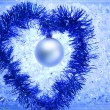 Christmas silver bauble tinsel heart — Foto de Stock