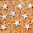 Christmas stars background on recycle paper — Stock Photo