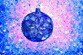 Weihnachten blaue glaskugel über rosa eisblau — Stockfoto