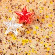 Christmas prism stars on recycled pape — Stock Photo