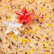 Christmas prism stars on recycled pape — ストック写真