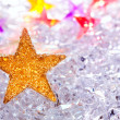Christmas stars in ice background — Stock Photo #7001926