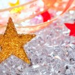 Christmas stars in ice background — Stock Photo