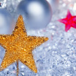 Christmas golden star symbol silver baubles - Stockfoto
