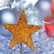 Christmas golden star symbol silver baubles - Stock fotografie