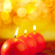 Christmas red candles round shape — Stock Photo