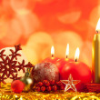 Stock Photo: Christmas red snowflake with candles