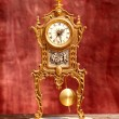 Ancient vintage golden brass pendulum clock -  