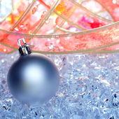 Vánoční ozdoby stříbrné v zimě LED — Stock fotografie