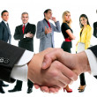 Stock Photo: Business handshake and company team
