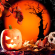 Halloween orange pumpkin on autumn leaves — Foto de Stock