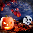 Stock Photo: Halloween lantern pumpkin in dark sky clouds