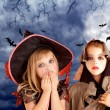 Halloween costumes kid girls on moon night — Stock Photo #7091797