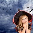 Halloween scared kid girl on dark moon sky — Stock Photo #7091890