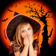 Royalty-Free Stock Photo: Halloween scared blond kid girl
