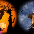 Halloween girls costumes in two backgrounds — Stock Photo #7092569