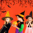 Halloween group of children girls costumes — Stock Photo #7092619