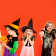 Halloween group of children girls costumes — Stock Photo #7092822