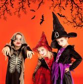 Halloween group of children girls costumes — Foto Stock