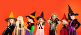 Halloween group of children girls costumes — Stock Photo
