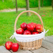 Basket of red apples on wood floor — Lizenzfreies Foto